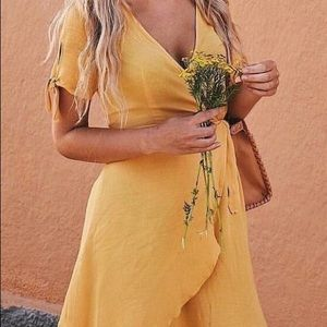 ❤️ Mustard Yellow Wrap Romper
